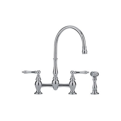 Franke FF6070A Farm House Widespread Kitchen Faucet Polished Nickel With Sidespray