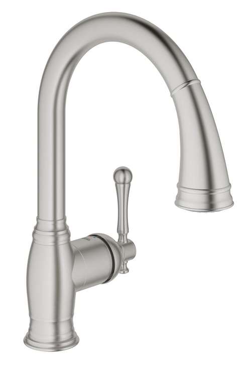 Grohe 33870DC2 Bridgeford Pullout Spray Single Hole Kitchen Faucet SuperSteel